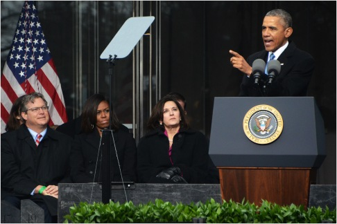 President Barack Obama speaks March 30, 2015 at the dedication of the Edward M. Kennedy Institute of the US Senate.